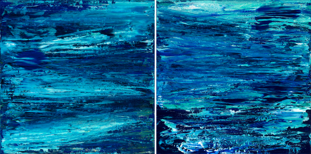 Nature's Mirage 2 (Diptych)  12 x 12 each  Acrylic on Linen