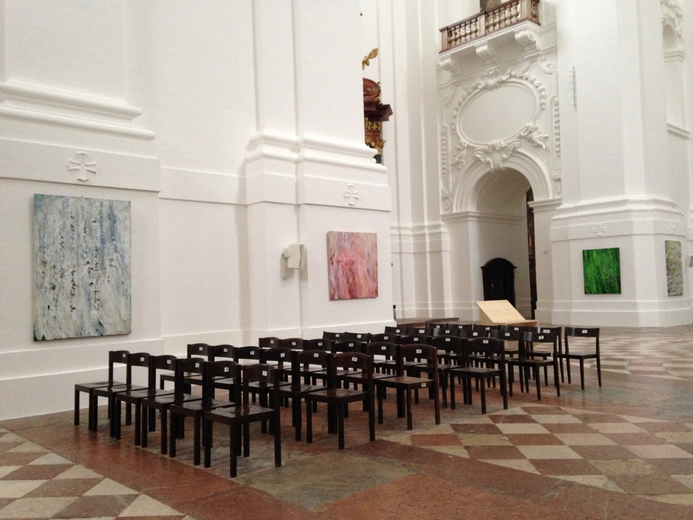 The paintings of Susan Swartz line the walls of the Kollegienkirche.