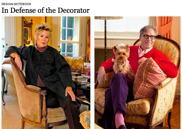 "Lead image from The New York Times article, ""In Defense of the Decorator"""
