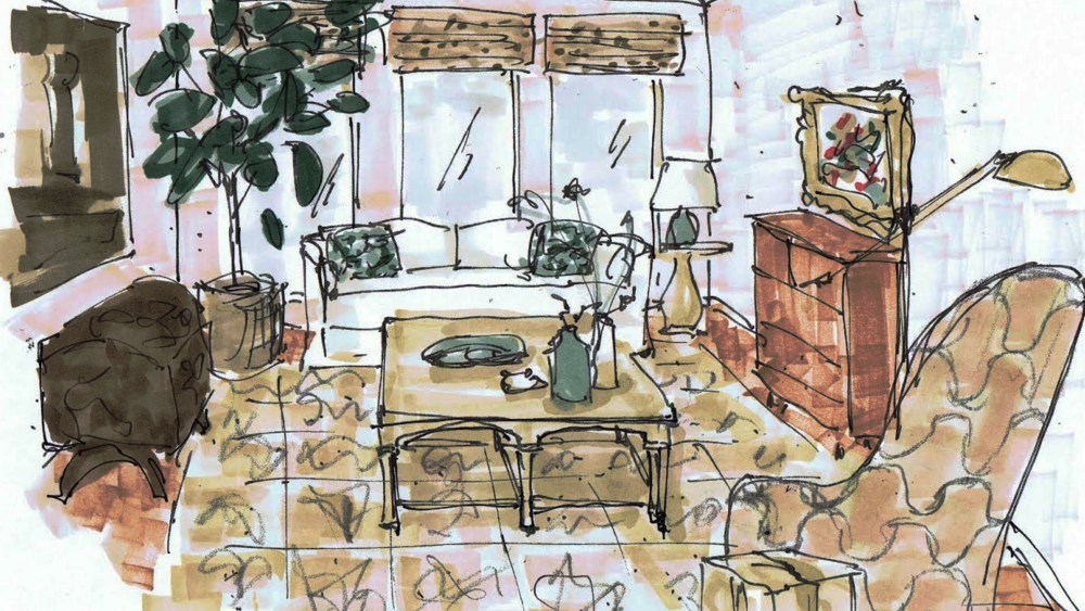 E-design sketch of living room project - Carla Aston, Designer