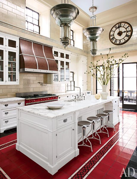Article | Analyzed & Admired | The Interior Designs of Steven Gambrel  LINK ➤ http://carlaaston.com/designed/analyzed-admired-steven-gambrel-interior-designer | Tags: #kitchen, #skylight, #tile, #red #island | Image found @ Architectural Digest