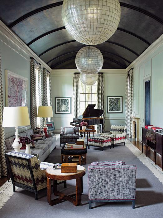 Article | Analyzed & Admired | The Interior Designs of Steven Gambrel  LINK ➤ http://carlaaston.com/designed/analyzed-admired-steven-gambrel-interior-designer | Tags: #living #room, #turquoise, #purple #carpet, #chandelier #piano | Image source: Architectural Digest