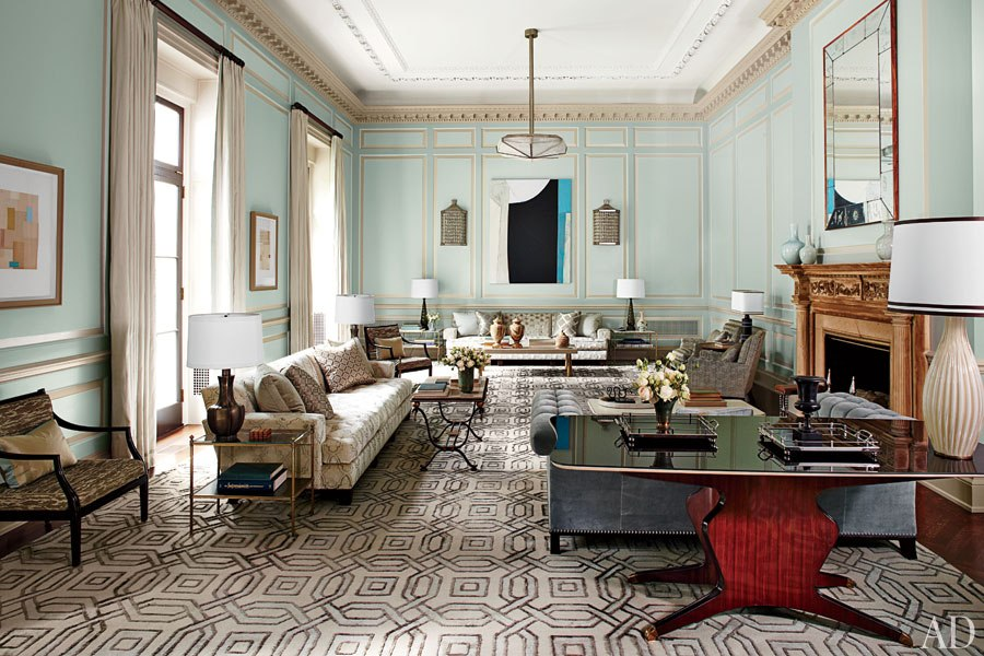 Article | Analyzed & Admired | The Interior Designs of Steven Gambrel  LINK ➤ http://carlaaston.com/designed/analyzed-admired-steven-gambrel-interior-designer | Tags: #living #room, #turquoise, #pattern #flooring | Image source: Architectural Digest