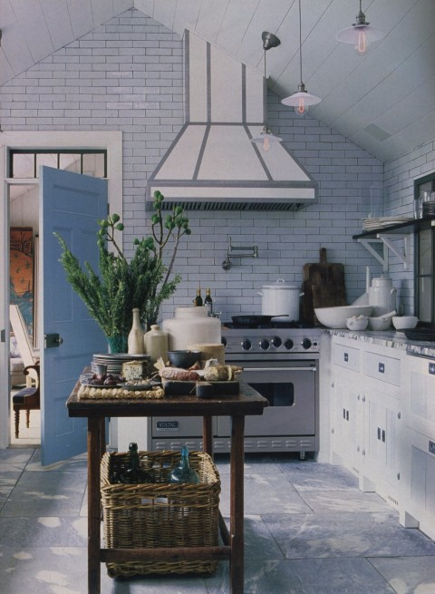 Article | Analyzed & Admired | The Interior Designs of Steven Gambrel  LINK ➤ http://carlaaston.com/designed/analyzed-admired-steven-gambrel-interior-designer | Tags: #kitchen, #brick #wall, #turquoise #island | Image source: Architectural Digest