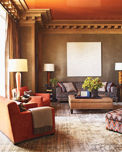 Article | Analyzed & Admired | The Interior Designs of Steven Gambrel  LINK ➤ http://carlaaston.com/designed/analyzed-admired-steven-gambrel-interior-designer | Tags: #living #room, #pattern #floor, #orange #couch, #wall #painting | Image source: Elle Decor
