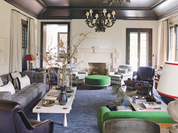 Article | Analyzed & Admired | The Interior Designs of Steven Gambrel | LINK ➤ http://carlaaston.com/designed/analyzed-admired-steven-gambrel-interior-designer | Tags: #living #room, #blue #carpet, #green #chair, #lighting, #couch, #table | Image found @ Stephen Burke