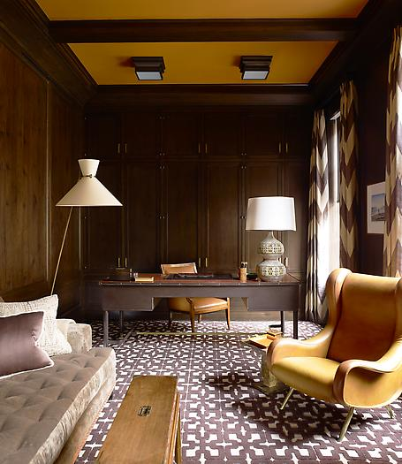 Article | Analyzed & Admired | The Interior Designs of Steven Gambrel | LINK ➤ http://carlaaston.com/designed/analyzed-admired-steven-gambrel-interior-designer | Tags: #office, #wood #wall, #pattern #flooring, #desk, #lamp | Image found @ Architectural Digest