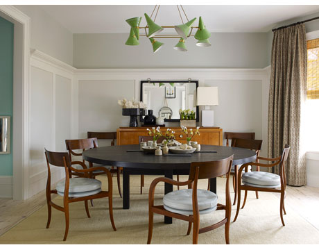 Article | Analyzed & Admired | The Interior Designs of Steven Gambrel | LINK ➤ http://carlaaston.com/designed/analyzed-admired-steven-gambrel-interior-designer | Tags: #dining #room, #green #light #fixture, #table | Image found @ House Beautiful