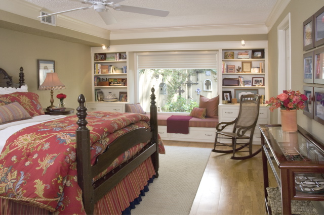 Bedroom with built-in bookshelves,styling magazine ready interiors | Credit: Joetta Moulden