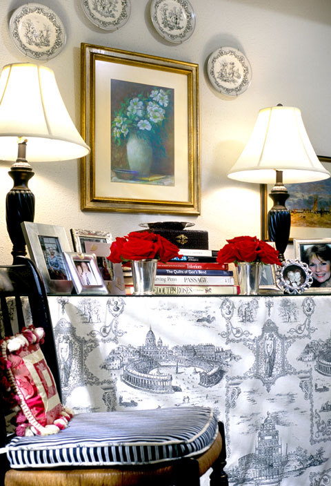 Toile table skirt with accessorized tablescape | Credit: Joetta Moulden