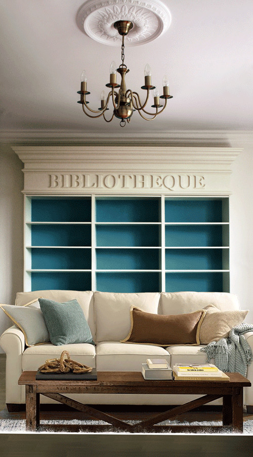 ARTICLE: Ways To Add Color To An Open Plan House | Bookcases And Cabinets Edition | Image Source:  DDSLL Girls  | CLICK TO READ... http://carlaaston.com/designed/paint-bookshelf-cabinet-backs