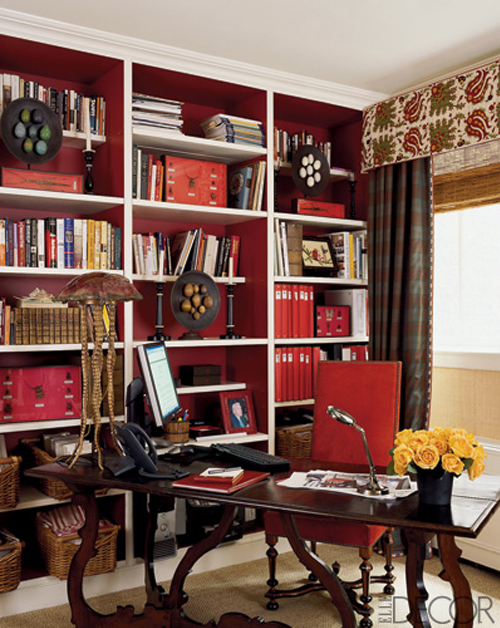 ARTICLE: Ways To Add Color To An Open Plan House | Bookcases And Cabinets Edition | Image Source: Elle Decor and Facile Flair | CLICK TO READ... http://carlaaston.com/designed/paint-bookshelf-cabinet-backs