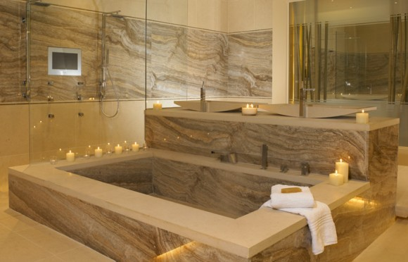 ARTICLE & GALLERY | Vein-Cut Stone - Like The Ocean, Its Effortless Flow Soothes With A Zen-Like Ambience | Image Source: Kitchen Clarity | CLICK TO ENJOY... http://carlaaston.com/designed/vein-cut-stone-texture-with-zen-ambience | (KWs: texture, design, bathroom, flooring, wall)