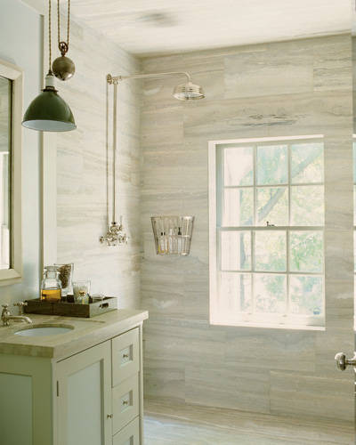 ARTICLE & GALLERY | Vein-Cut Stone - Like The Ocean, Its Effortless Flow Soothes With A Zen-Like Ambience | Image Source: Steven Gambrel / Elle Decor | CLICK TO ENJOY... http://carlaaston.com/designed/vein-cut-stone-texture-with-zen-ambience | (KWs: texture, design, bathroom, flooring, wall)