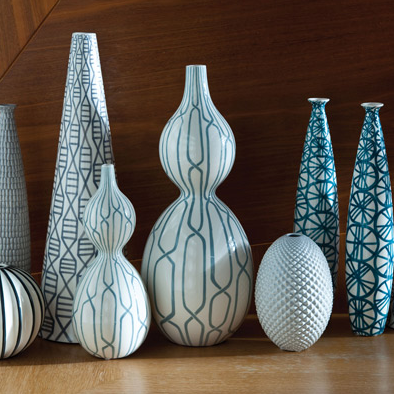 Dwell Studio Vase Linking Trellis Double Bulb Blue | Click for full description