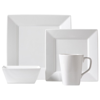 NEEDED: 16pc Square White Rim Dinnerware Set (Buy two sets) = $107.98 ($53.99 x 2) @Target