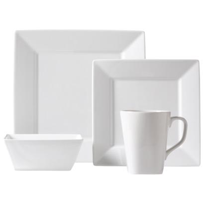 NEEDED: 16pc Square White Rim Dinnerware Set (Buy two sets) = $107.98 ($53.99 x 2) @Target