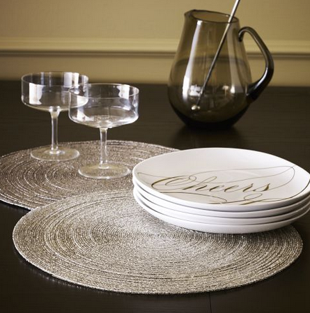 "NEEDED: Eight Silver ""Tinsel"" Round Placemats = $31.68 (:$3.96 x 8) @PierOne"