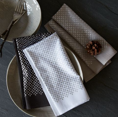 NEEDED: Two four-piece sets of Metallic Clover Printed Napkins = $50.00 ($25 x 2) @WestElm