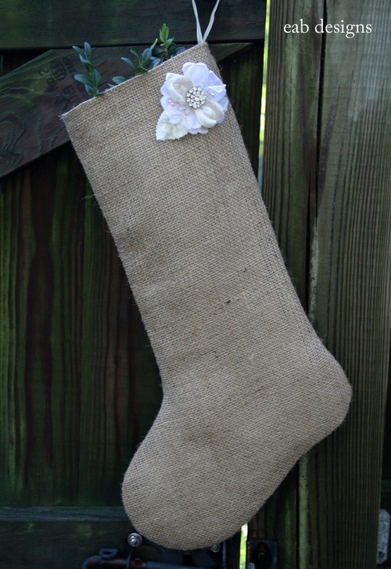 Article + Gallery ➤ http://CARLAASTON.com/designed/decorating-with-burlap For The Love Of Burlap | The Holiday's Hottest Decorating Tool (Image Source: EAB Designs - KWs: decor, tutorial, DIY, Christmas, stocking)