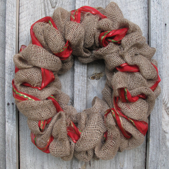 Article + Gallery ➤ http://CARLAASTON.com/designed/decorating-with-burlap For The Love Of Burlap | The Holiday's Hottest Decorating Tool (Image Source: Burlap Designs - KWs: decor, tutorial, DIY, Christmas, wreath)