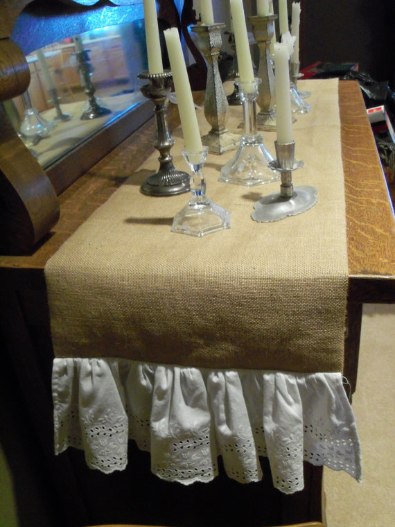 Article + Gallery ➤ http://CARLAASTON.com/designed/decorating-with-burlap For The Love Of Burlap | The Holiday's Hottest Decorating Tool (Image Source: From Old Stuff - KWs: decor, tutorial, DIY, Christmas, table setting)