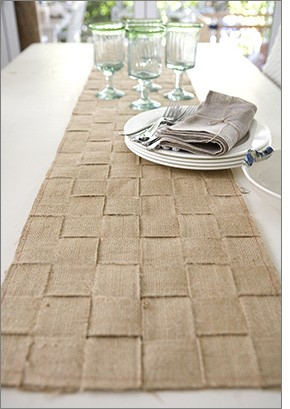 Article + Gallery ➤ http://CARLAASTON.com/designed/decorating-with-burlap For The Love Of Burlap | The Holiday's Hottest Decorating Tool (Image Source: Tara Dennis - KWs: decor, tutorial, DIY, Christmas, table runner)