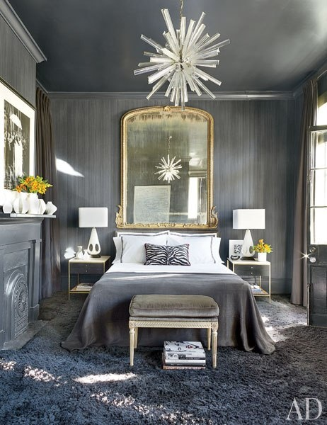 Article + Gallery ➤ http://CARLAASTON.com/designed/lighting-makes-artistic-statement When Lighting Makes A Design's Artistic Statement - Image Source: Architectural Digest (KWs: light art, chandelier , bedroom )