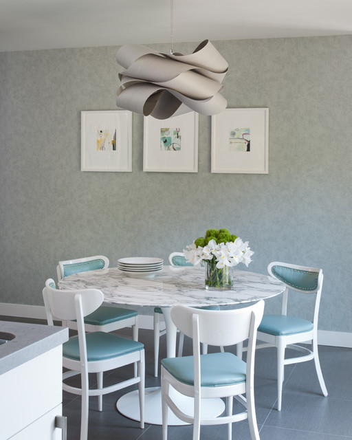 Article + Gallery ➤ http://CARLAASTON.com/designed/lighting-makes-artistic-statement When Lighting Makes A Design's Artistic Statement - Image Source: Unknown (KWs: light art, chandelier, turquoise, dining room  )