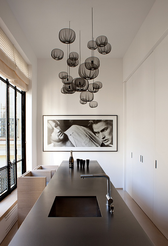 Article + Gallery ➤ http://CARLAASTON.com/designed/lighting-makes-artistic-statement When Lighting Makes A Design's Artistic Statement - Image Source: Unknown (KWs: light art, chandelier, contemporary kitchen  )