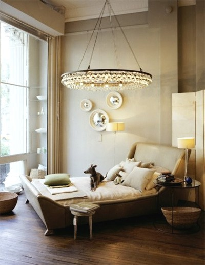 Article + Gallery ➤ http://CARLAASTON.com/designed/lighting-makes-artistic-statement When Lighting Makes A Design's Artistic Statement - Image Source: Unknown (KWs: light art, chandelier, bedroom  )