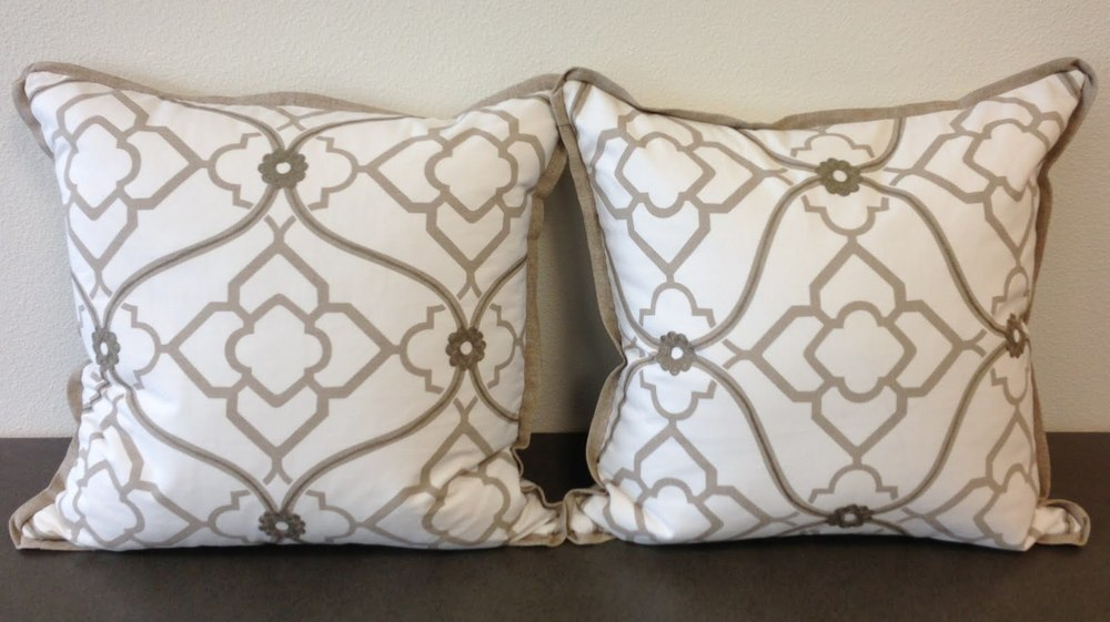 Custom Pillows in Candice Olson Fabric | By Carla Aston of Aston Design Studio Set of two, priced @ $260 (I know! This is the splurge! But your guests will know you care. ;-) -Email me to purchase