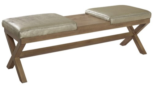 Wolfram Leather Ottoman | zinc door - Clever. You can put your feet up on one side and your drink in the middle. - This bench is an ideal complement to sofaswith two topstitched cushions atop a refined frame boasting criss-cross legs.