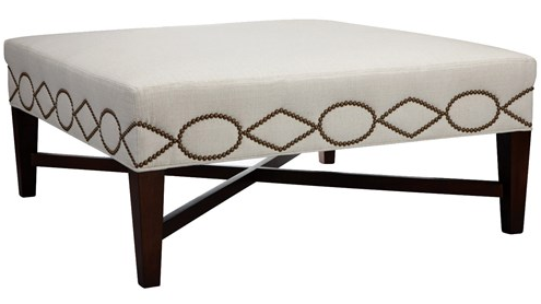 Harrison Cocktail Ottoman | zinc door A cocktail ottoman with geometric interest, the square Harrison boasts nailhead trim in a diamond and oval pattern and a decorative cross stretcher connecting its tapered wooden legs. - Click through to check out all the fabric choices.