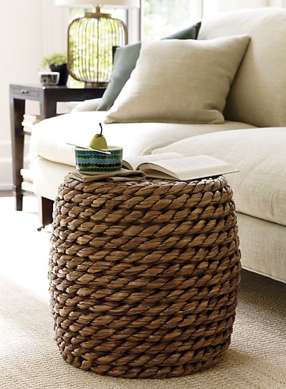 Samar Ottoman | Crate & Barrel Exaggerated chunky weave of handwoven sustainable lampakanai fibers rounds out casual seating with high-impact texture. Sturdy cylinder-shaped ottoman also doubles as a side table or footrest.