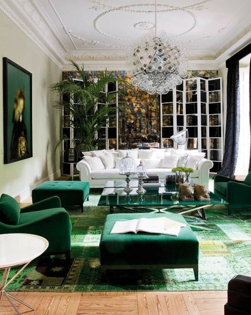 Article + Gallery ➤ http://CARLAASTON.com/designed/pantone-color-of-year-2013-emerald-green SEE Why Emerald Green Is Pantone's Color Of The Year (Image Source: ninafarmerinteriors.blogspot.com)