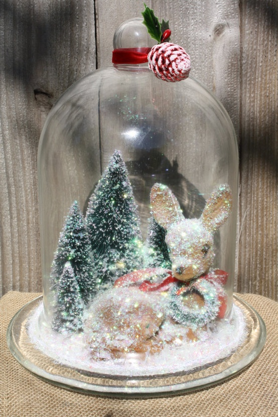 Click here ➤ http://CARLAASTON.com/designed/decor-under-glass for 18 beautiful examples of the magic created when decor is placed under glass! (Image credit:etsy.com- KWs: snowglobe )