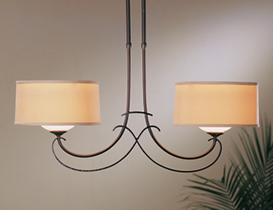 iron double light pendant with linen shades