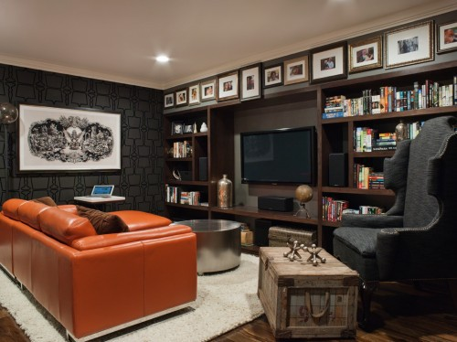 "I love how a ""frieze"" is created on the furr down above the bookcases . . . the horizontal banding or border. Designer: Lizette Bruckstein, via: SFChronicle"