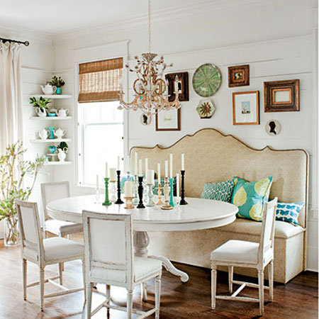 Image via: Southern Living magazine - 19 Lovely Ways A Settee Can Squeeze More Guests Around The Dining