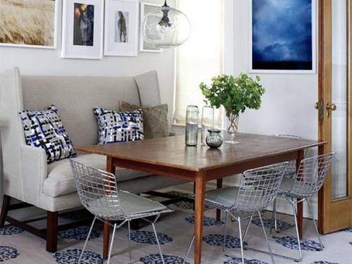 Image via: Style at Home - 19 Lovely Ways A Settee Can Squeeze More Guests Around The Dining