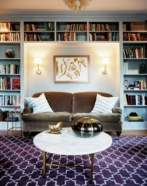 Sofa Set Between Built-Ins, Designer:  Angie Hranowsky,  Image via: Lonny