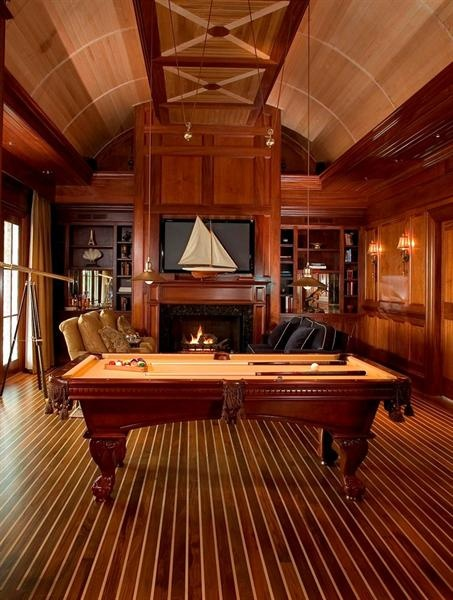 Wood paneled billiards room |  Phillip Smith, General Contractors