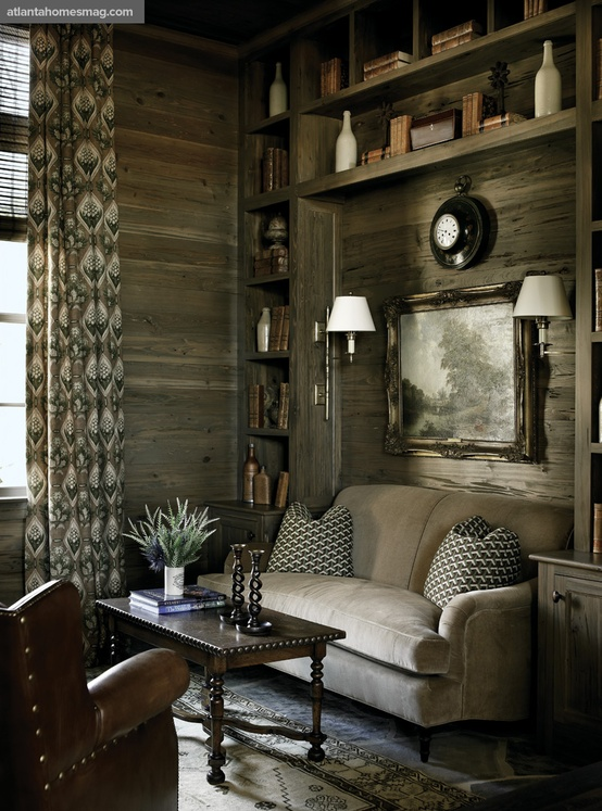 Rustic wood paneled room | Image via:  Atlanta Homes & Lifestyle,  Designer: Nancy Warren, Architect:  Stanley Dixon