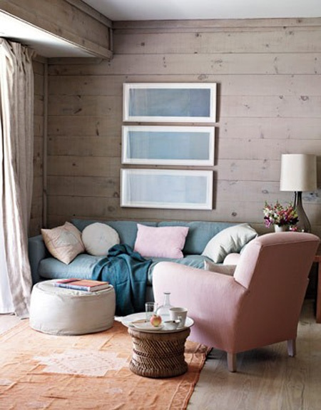 Grayed horizontal wood plank, paneling | Designers:  Harriet Maxwell Macdonald  & Andrew Corrie, Image via:  House Beautiful