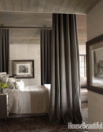 Whitewashed wood plank paneling in bedroom | Designer:  Susan Ferrier,  Image via:   House Beautiful