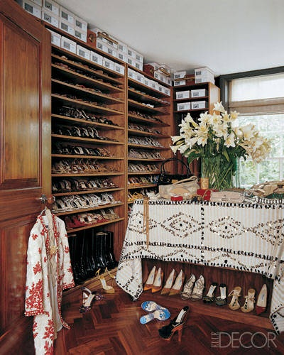 Shoe closet of Tamara Mellon, Image via:     Elle Decor