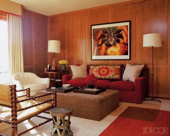 Wood paneled room | Designer:  Peter Dunham,  Architect: Richard Gemigniani, Image via:  Elle Decor