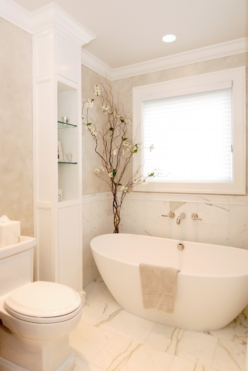 Regain Your Bathroom Privacy & Natural Light w/This Window Treatment ➤ http://CARLAASTON.com/designed/bathroom-privacy-translucent-window