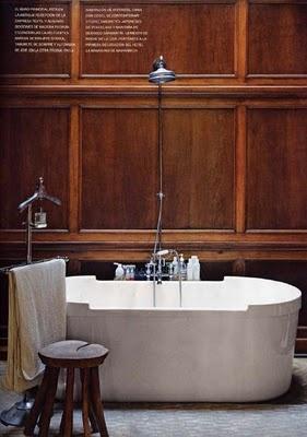 Wood paneling behind free standing tub | Image via:  Bella in Barcelona , Designer:  Lazaro Rosa-Violan